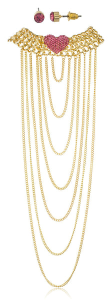 Goldtone With Pink Stones 15-18 Inch Adjustable Length Heart Style Choker Body Chain With Hanging Cuban Links And Matching Earrings Jewelry Set