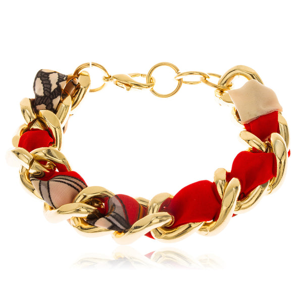 Goldtone With Red 7 Inch Adjustable Braided Fabric With Cuban Link Bracelet
