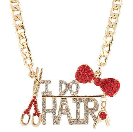 Goldtone With Red Bow Tie And I Do Hair Pendant With A 22 Inch Adjustable Link Necklace