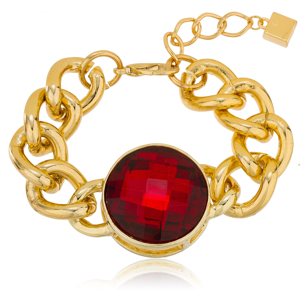Goldtone With Red 'Crystal Clear' Adjustable...