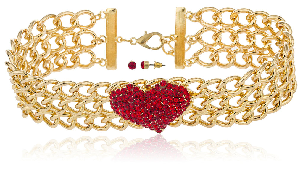 Goldtone With Red Stones 15-18 Inch...