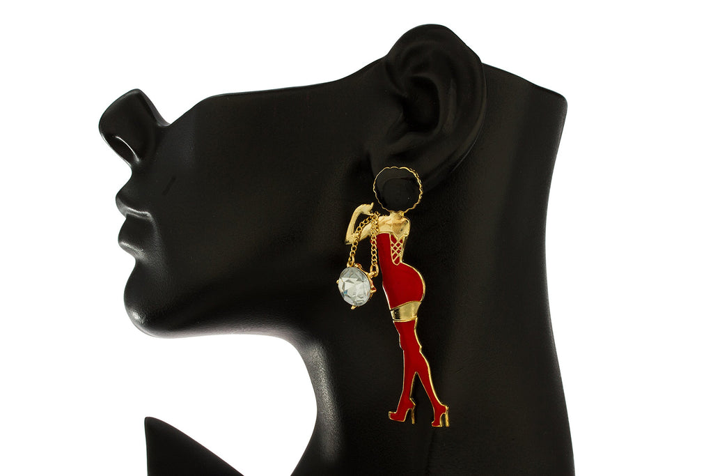 Goldtone With Red Women Posing Stud...