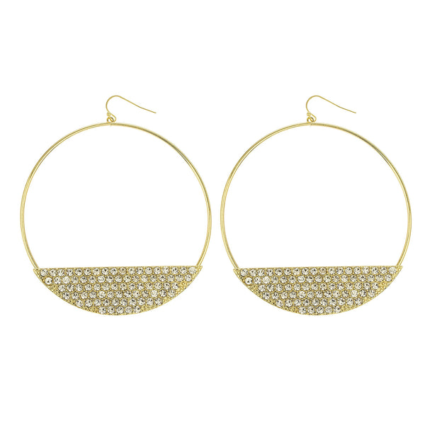 Goldtone With Stone Plate 3 Inch Hoop Earrings