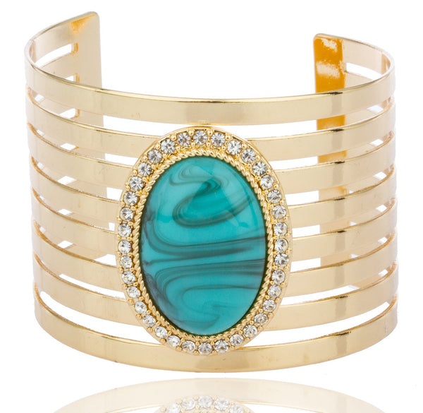 Goldtone With Turquoise And Centered Stones Bar Design Cuff Bangle Bracelet