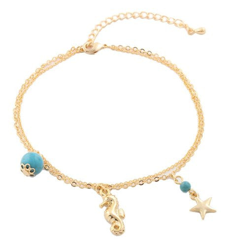 Goldtone With Turquoise Dangling Seahorse Star...