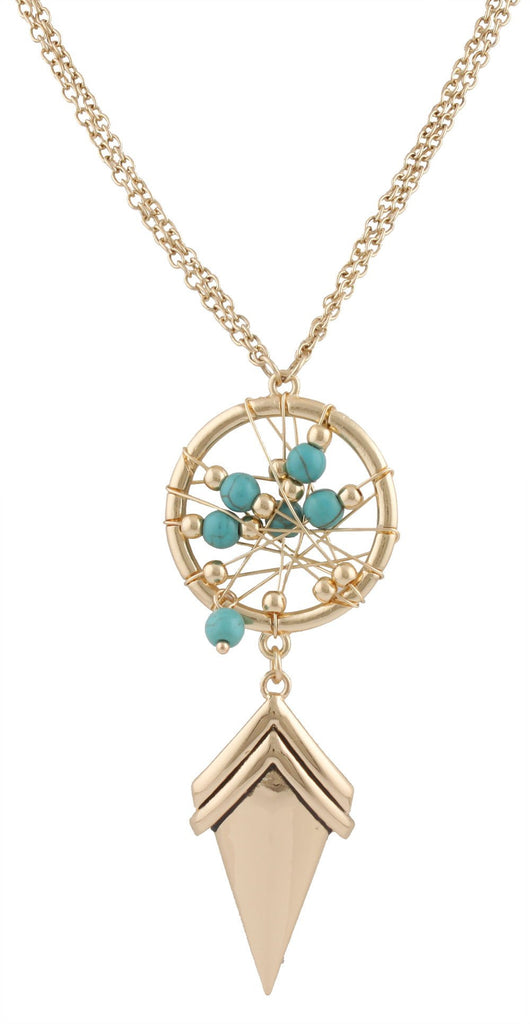 Goldtone With Turquoise Dreamcatcher Pendant With...