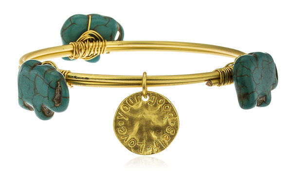 Goldtone With Turquoise Elephant Shaped Stones 'Love Your Good Self' Large Bangle Bracelet