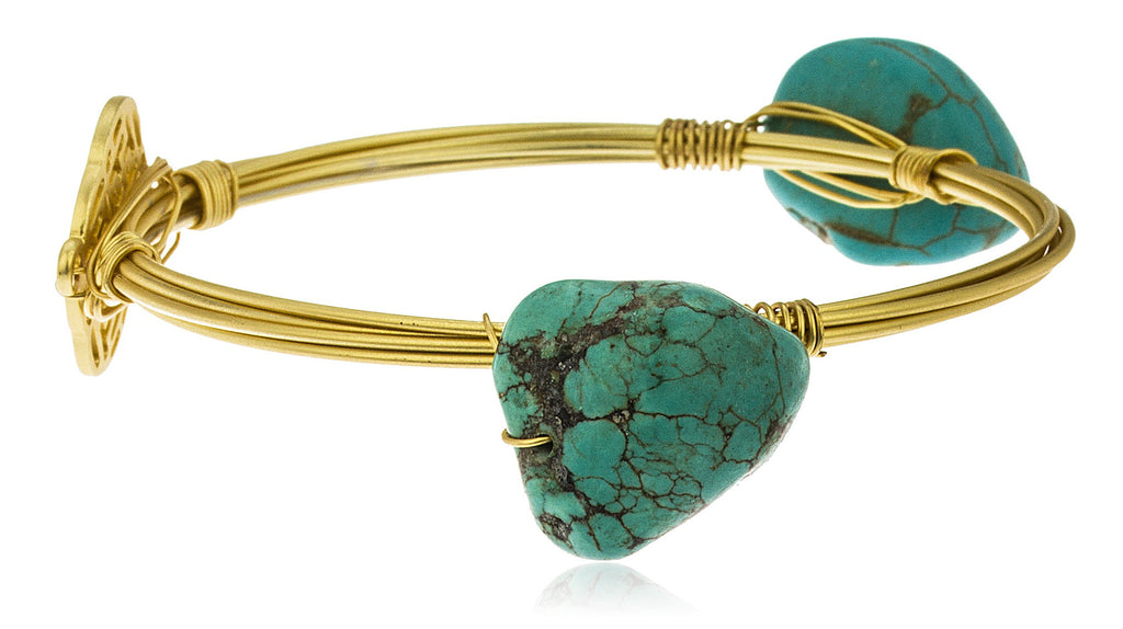 Goldtone With Turquoise Stones With Gated...