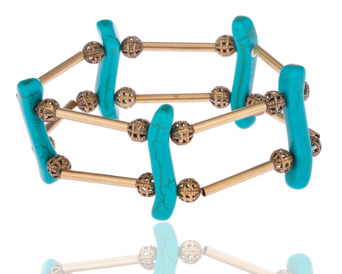 Goldtone With Turquoise Symmetrical Stretch Bracelet With Bars And Disco Balls