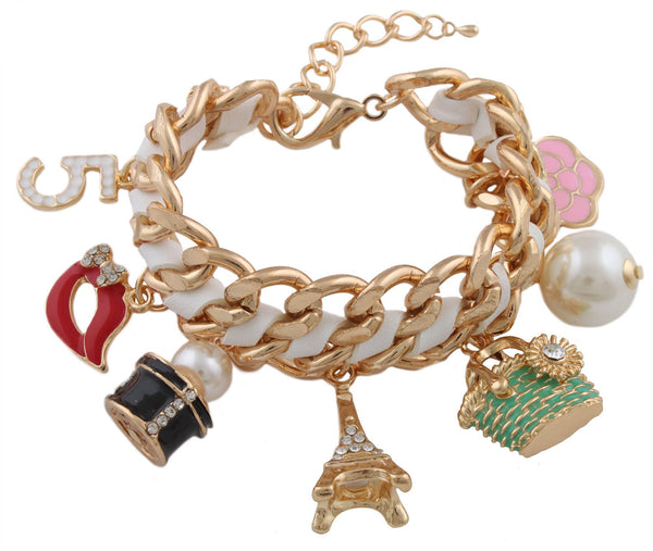 Goldtone With White Assorted Dangling Charms And Simulated Pearls Adjustable Braided Cuban Chain Bracelet