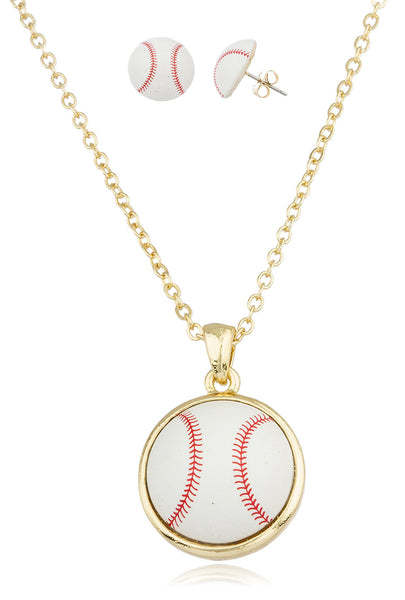 Goldtone With White Baseball Pendant With An 18 Inch Link Necklace And Matching Earrings Jewelry Set