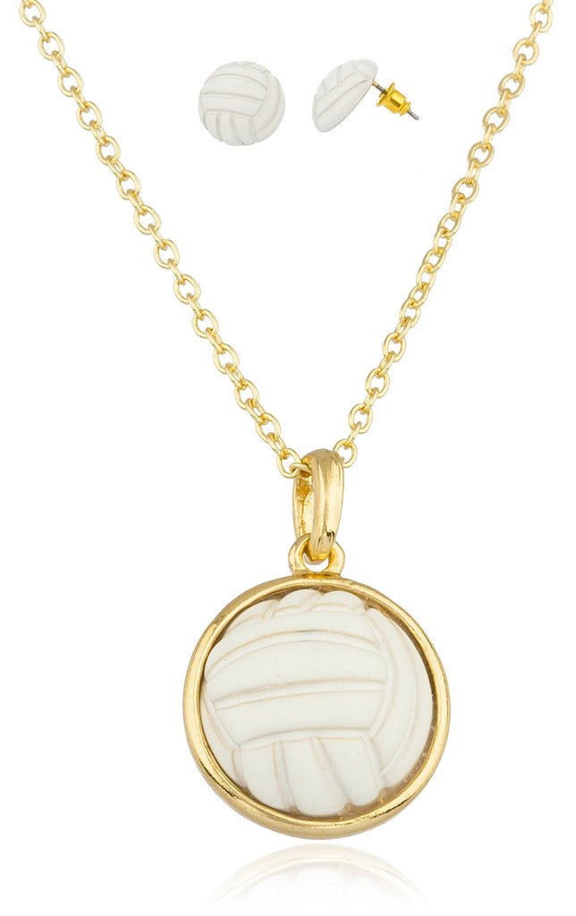 Goldtone With White Volleyball Pendant With...