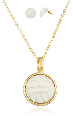 Goldtone With White Volleyball Pendant With An 18 Inch Link Necklace And Matching Earrings Jewelry Set