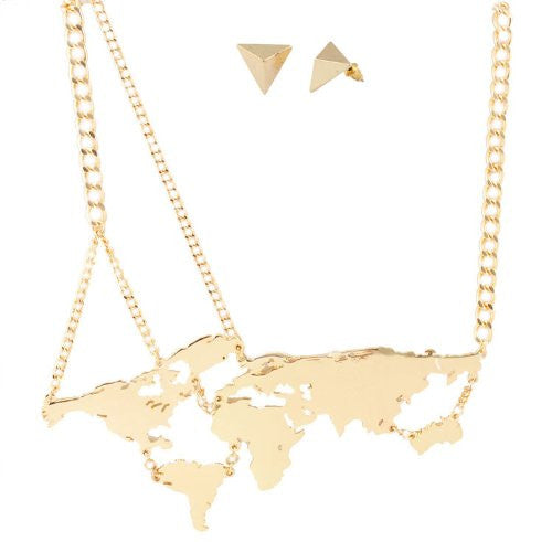 Goldtone World Continents Pendant With An...