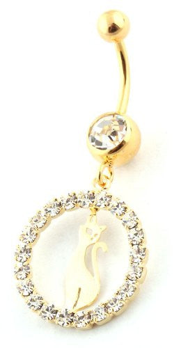 Goldtone Fully Iced Out Circle with...
