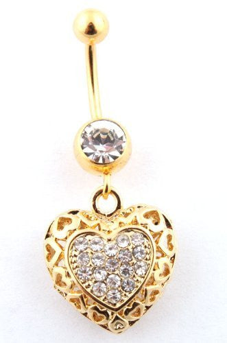 Iced Out Hollow Heart Shaped and Stone Beaded Belly Ring