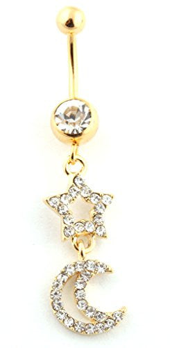 Iced Out Star and Moon with Clear Stone Belly Ring