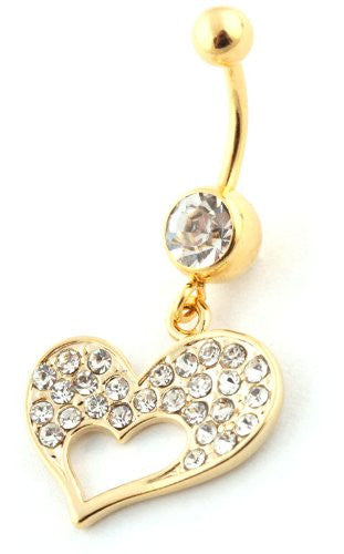 Goldtone Iced Out Heart and Mini...