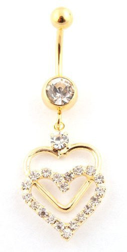 Iced Out Sequence Layered Heart with Clear Stone Belly Ring