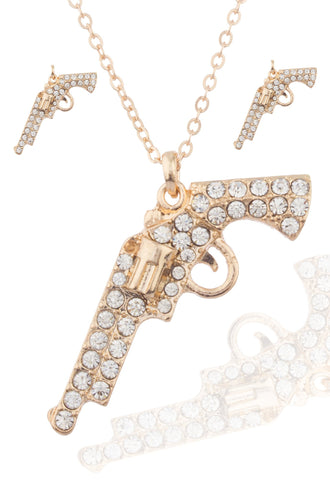 Goldtoneen Gun Pendant With Stones And An Adjustable 16-18 Inch Necklace And Matching Earrings Jewelry Set
