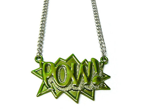 Green With Silvertone Zinc Pow! Pendant With A 36 Inch Link Chain Necklace