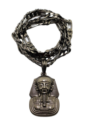 Gun Metal Pharaoh Pendant With A 5mm 24 Inch Figaro Chain
