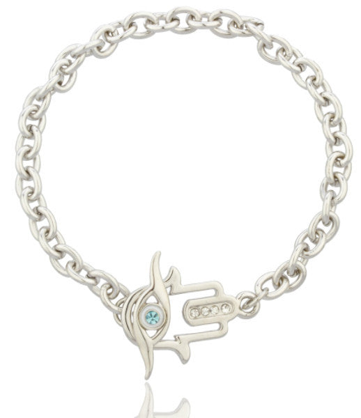 Hamsa And Blue Evil Eye Link Bracelet