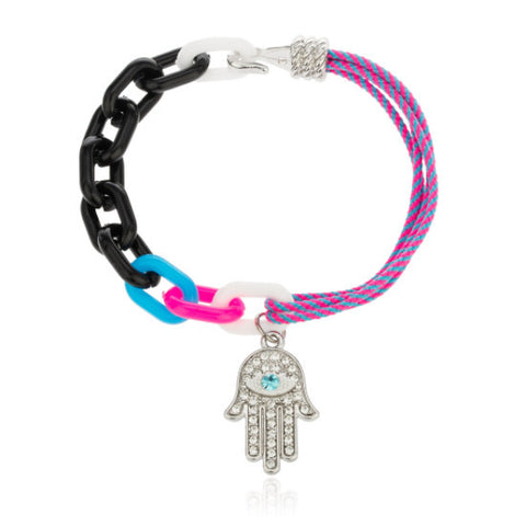 Hamsa Charm 7 Inch String Bracelet With Links And Stones (Pink)