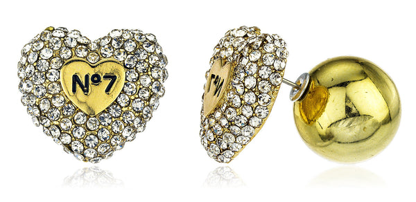 Heart No. 7 Stud Earrings With Clear Stones And Round Back (Goldtone)