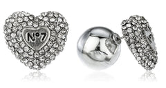 Heart No. 7 Stud Earrings With Clear Stones And Round Back (Silvertone)
