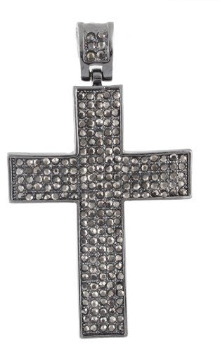 Hematite Iced Out 3D Smooth Cross...