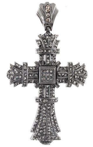 Hematite Iced Out Bursting Cross Pendant...