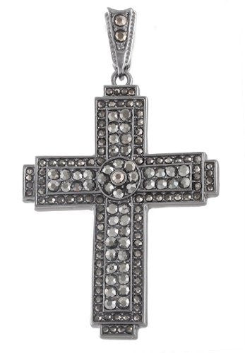 Hematite Iced Out Center Disc Cross...