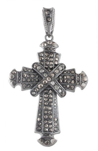 Hematite Iced Out Center Wrapped Cross...