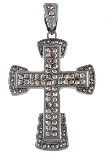 Hematite Iced Out Curved Ends Cross...