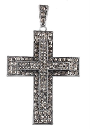 Hematite Iced Out Double Cross Pendant...