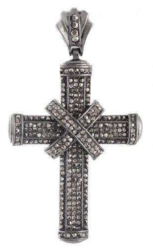 Hematite Iced Out Wrapped Center Cross...