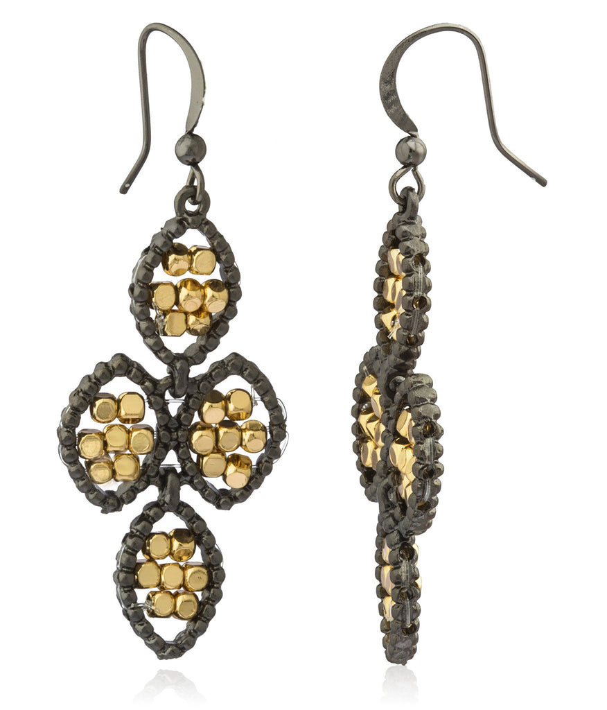 Hematite With Goldtone Sequence Flower Style...