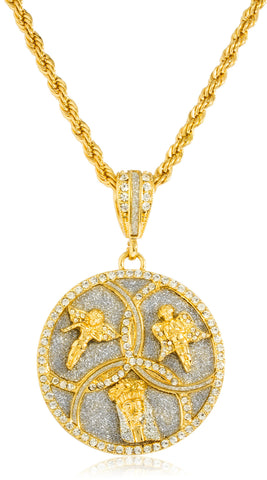 Iced Out Angel And Jesus Face Trinity Pendant With A 30 Inch Rope Chain Necklace