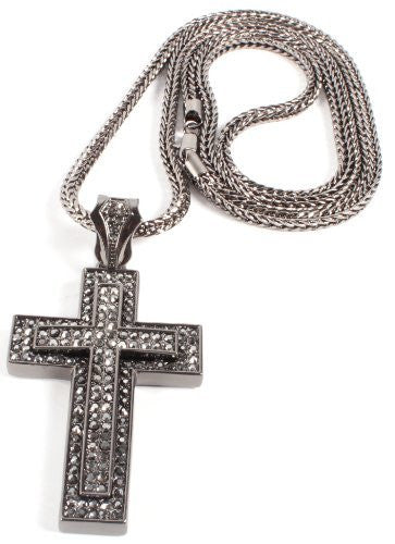 Iced Out Black 3D Two-Tone Cross Pendant With A 36 Inch Franco Necklace Chain
