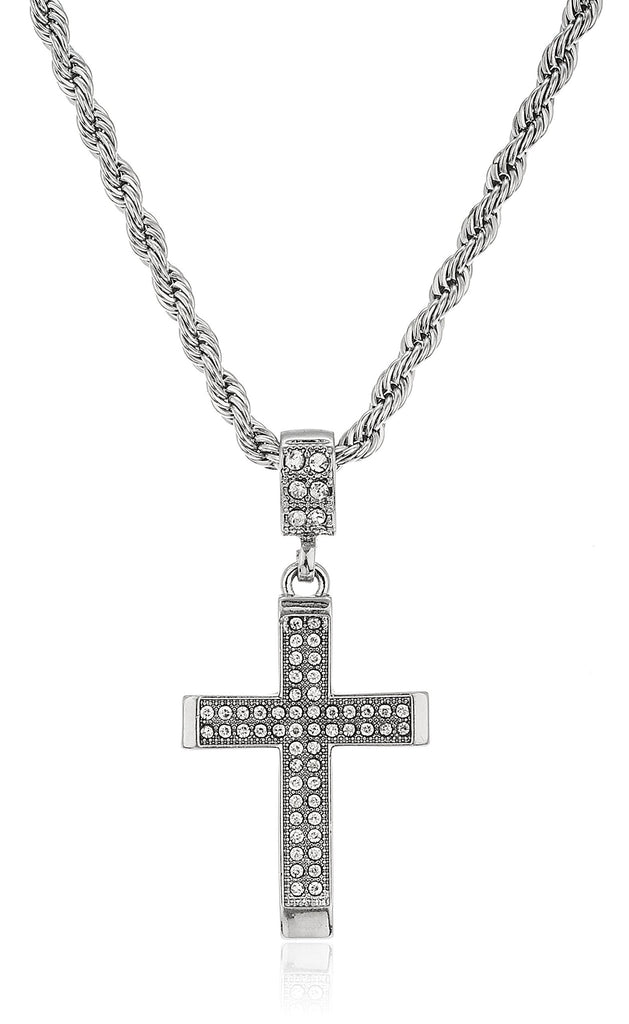 Iced Out Cross Micro Pendant With...