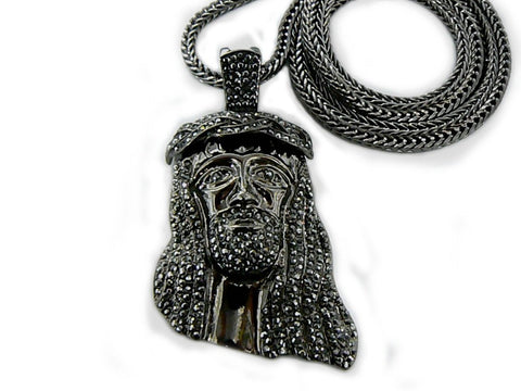 Iced Out Hematite Jesus Face Pendant With A 36 Inch Franco Chain Necklace