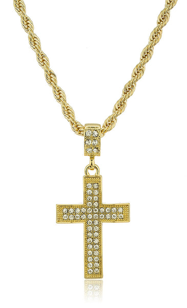 Iced Out Large Bold Wavy Cross Pendant With A 24 Inch 4mm Rope Chain Necklace (Goldtone)