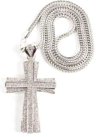 Iced Out Large Silvertone 3D Cross Pendant With A 36 Inch Franco Necklace Chain