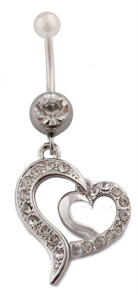 Iced Out Disconnected Double Heart with Clear Rhinestones Belly Ring