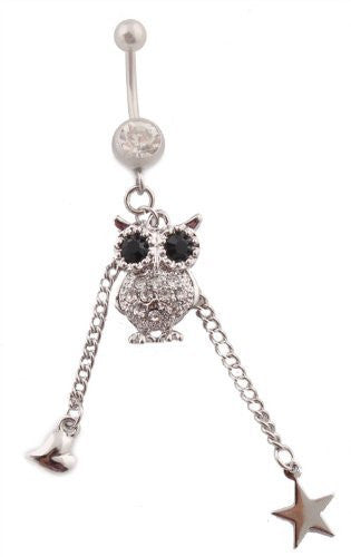 Iced Out Owl with Hanging Heart and Star Blue Rhinestone Belly Ring