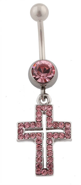 Iced Out Pink Double Cross with Pink Rhinestone Belly Ring