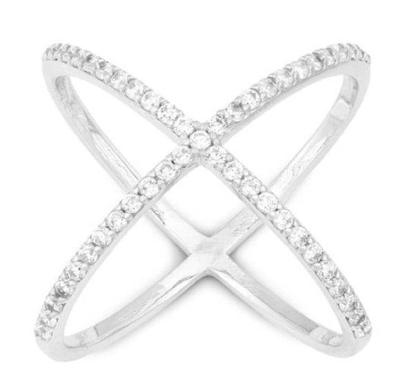 Ladies 925 Sterling Silver Criss Cross 'X' Ring With Cubic Zirconia Stones