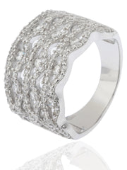 Ladies 925 Sterling Silver Cubic Zirconia Multiple-tier Finger Ring