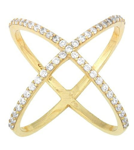 Ladies 925 Sterling Silver Goldtone Criss Cross 'X' Ring With Cubic Zirconia Stones